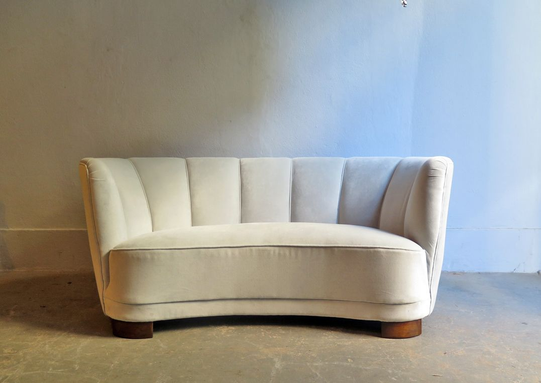 Vintage Art Deco 2 Seater Grey Velvet Sofa for sale at Pamono