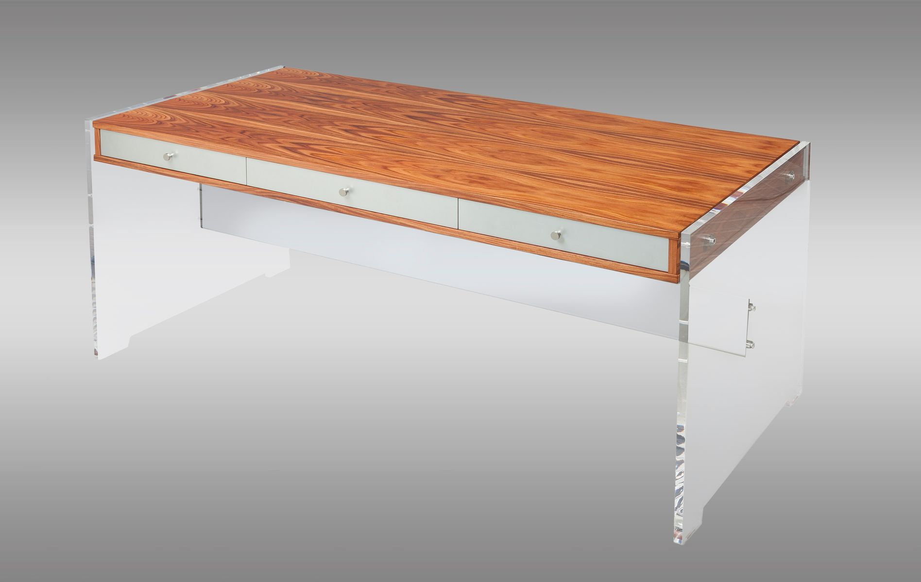 Rosewood lucite desk with chromed steel drawers by poul for Perspex desk