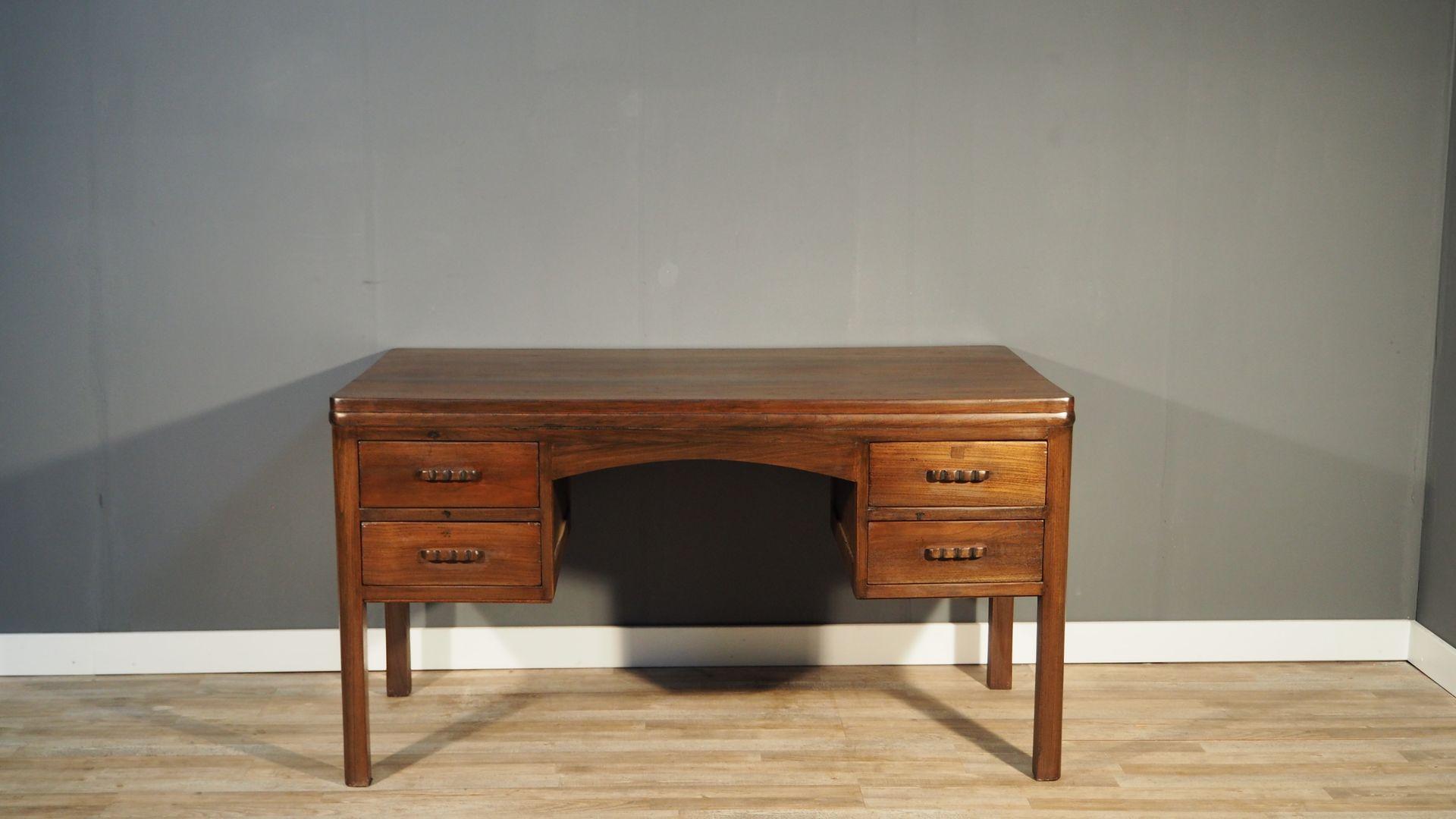 gebeizter vintage ulmenholz schreibtisch bei pamono kaufen. Black Bedroom Furniture Sets. Home Design Ideas