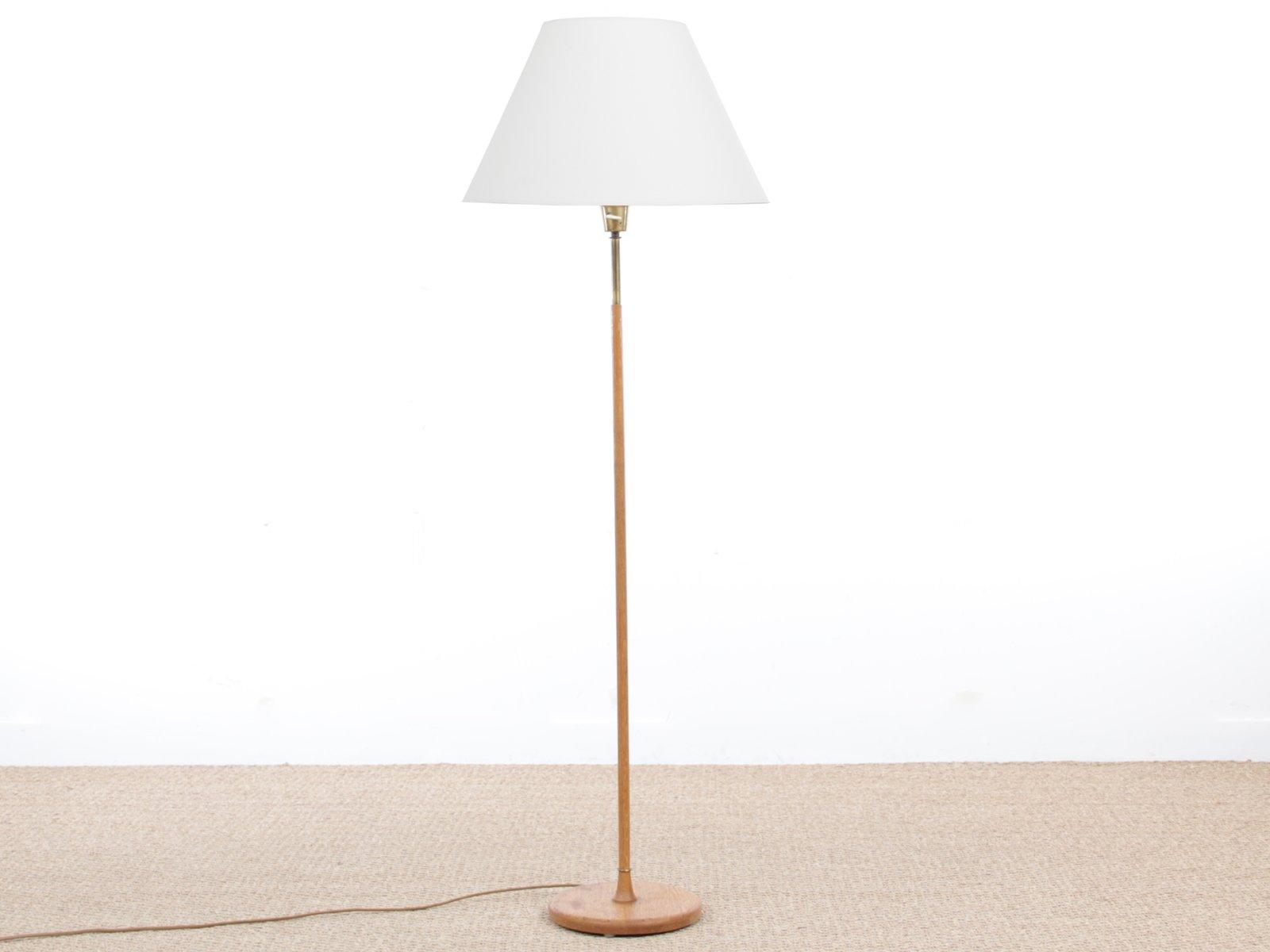Mid-Century Modern Scandinavian Floor Lamp in Oak & Brass for sale ...