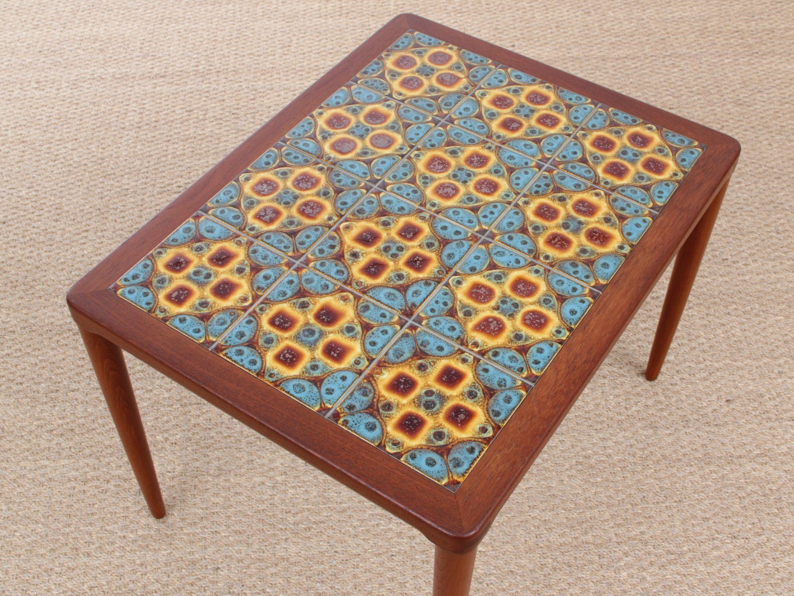 Mid Century Modern Teak Coffee Table with Ceramic Tiles by H W