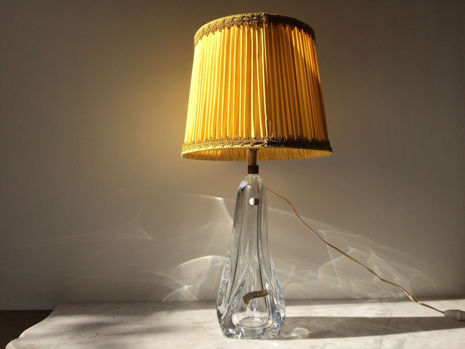 Elegant Large Crystal Table Lamp, 1960s