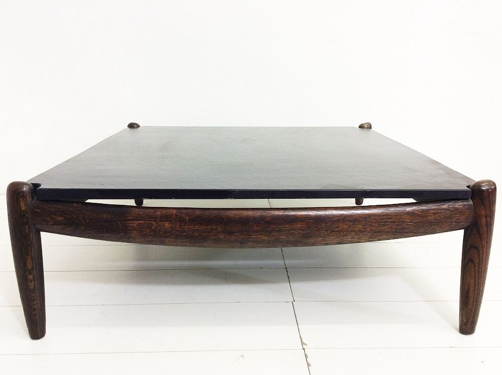 Coffee table with slate top by carl straub 1970s for sale at pamono Slate top coffee tables