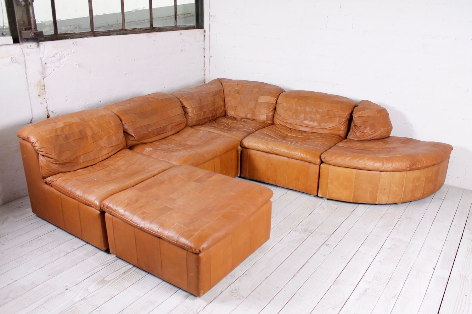 modular patchwork sofa in leather 1970s for sale at pamono. Black Bedroom Furniture Sets. Home Design Ideas
