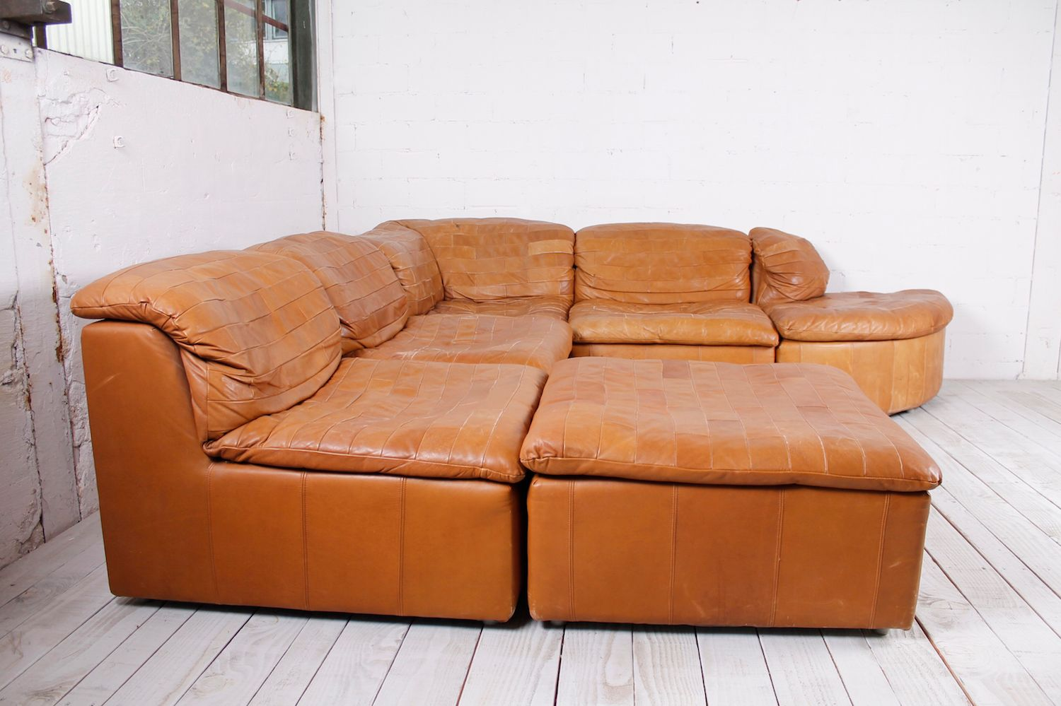Modular patchwork sofa in leather 1970s for sale at pamono for Sofa patchwork