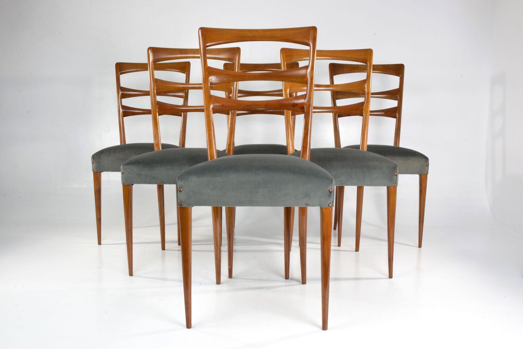 italienische esszimmerst hle mit samtbezug 1950er 6er set bei pamono kaufen. Black Bedroom Furniture Sets. Home Design Ideas