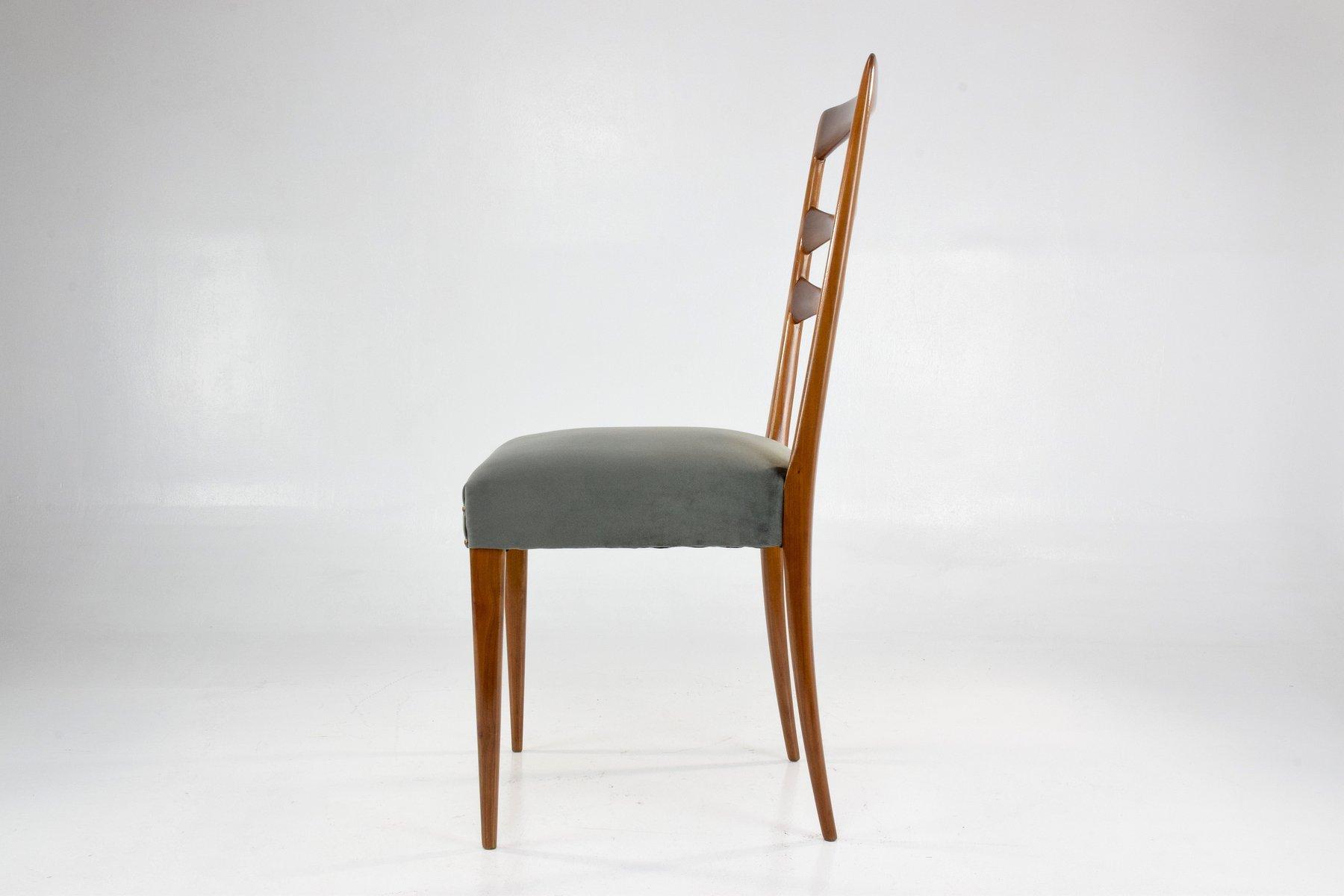 Italian Velvet Dining Chairs, 1950s, Set Of 6
