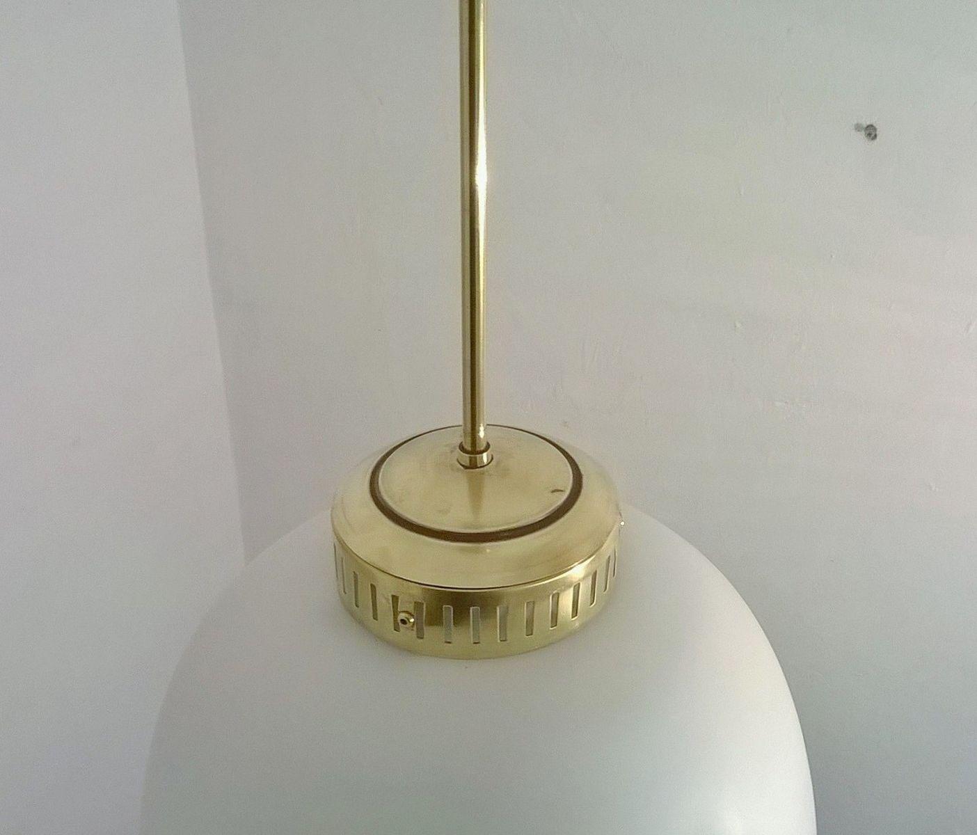 Large Opaline Glass Pendant Lamp From Stilnovo 1950s For