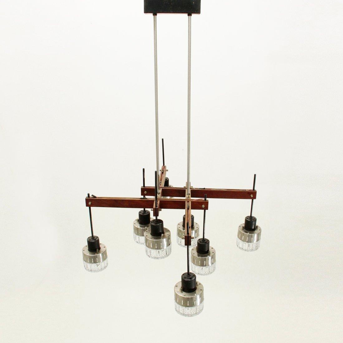 italienischer mid century kronleuchter aus holz mit 8 leuchten bei pamono kaufen. Black Bedroom Furniture Sets. Home Design Ideas