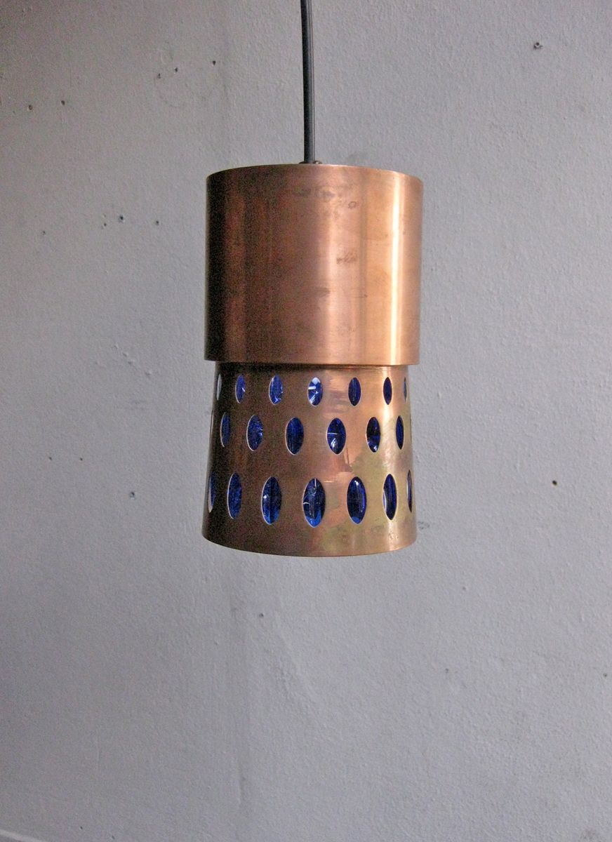 Vintage Copper Amp Blue Glass Pendant Lamp For Sale At Pamono