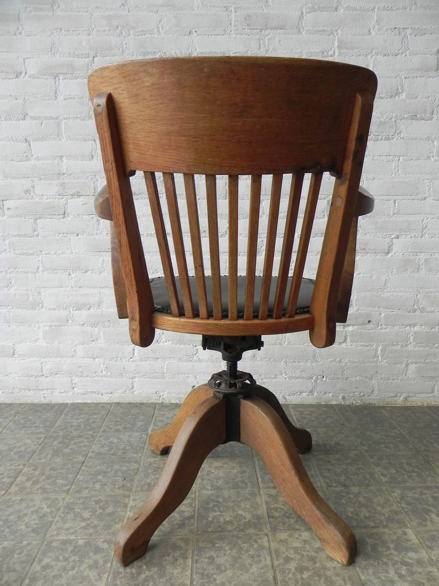 Vintage Adjustable Oak Office Chair For Sale At Pamono