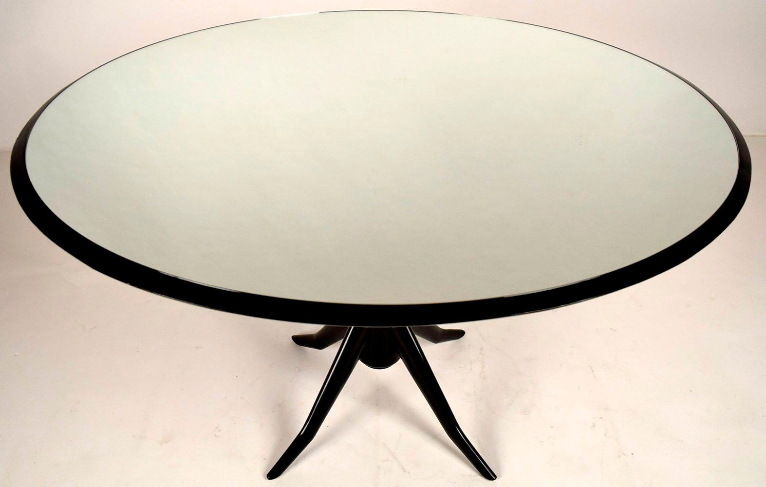 runder vintage esstisch mit verspiegelter tischplatte bei pamono kaufen. Black Bedroom Furniture Sets. Home Design Ideas