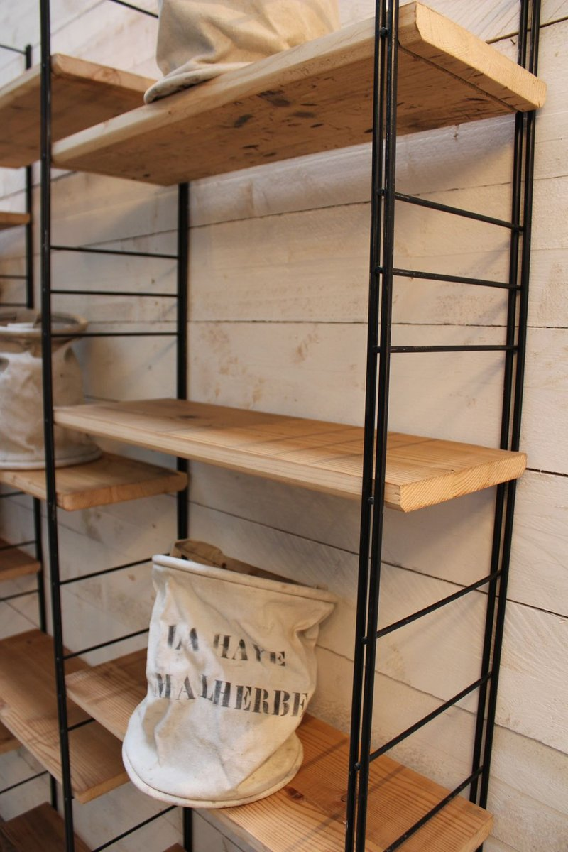 shelf in metal and wood 1960s for sale at pamono. Black Bedroom Furniture Sets. Home Design Ideas