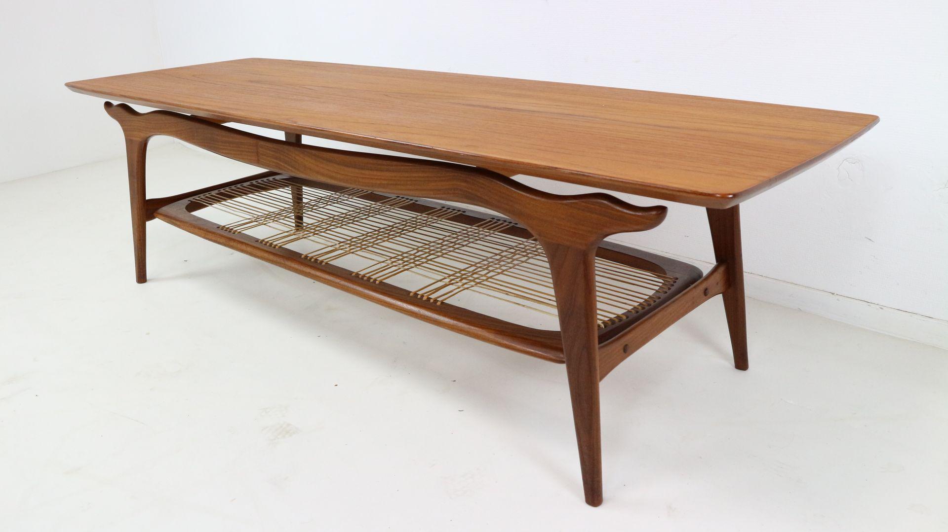 Teak Coffee Table by Louis Van Teeffelen for WéBé 1950s for sale