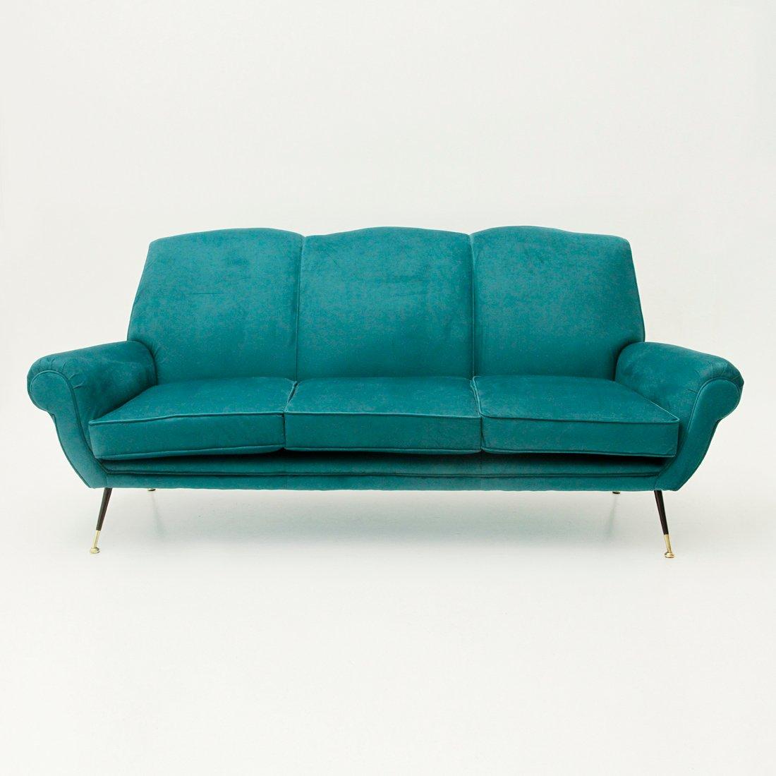 Italienisches 3 sitzer sofa aus samt 1950er bei pamono kaufen for Italienisches sofa