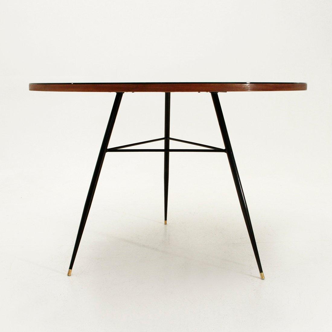 runder tisch mit schwarzem furnier und glasplatte 1950er. Black Bedroom Furniture Sets. Home Design Ideas