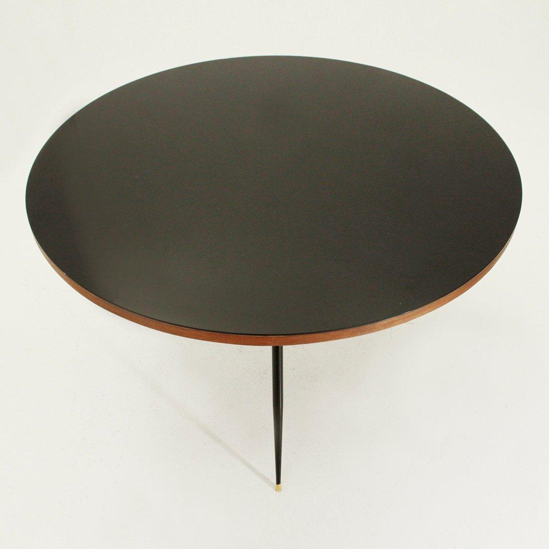 runder tisch mit schwarzem furnier und glasplatte 1950er bei pamono kaufen. Black Bedroom Furniture Sets. Home Design Ideas