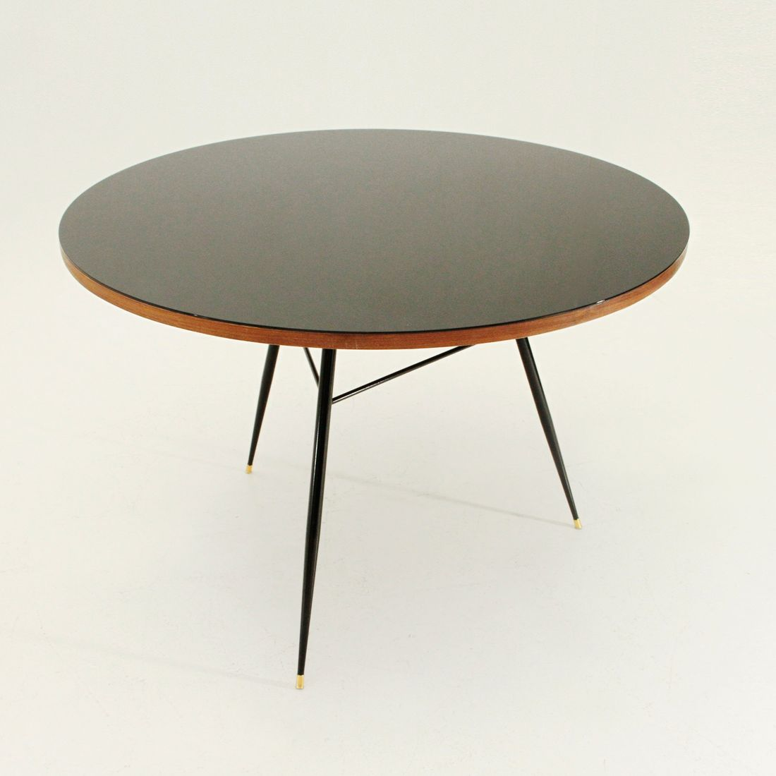 Round black veneer glass top table 1950s for sale at pamono Round glass table top