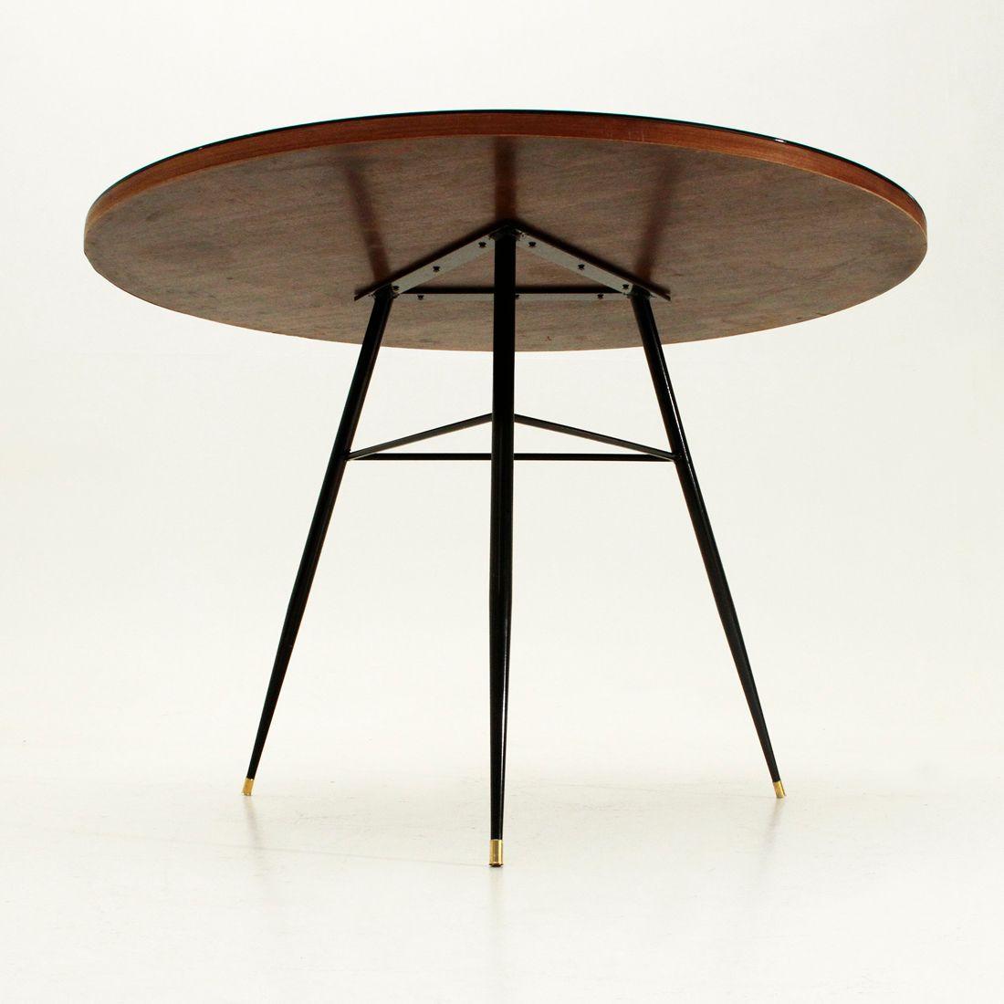 Runder tisch mit schwarzem furnier und glasplatte 1950er for Glasplatte tisch