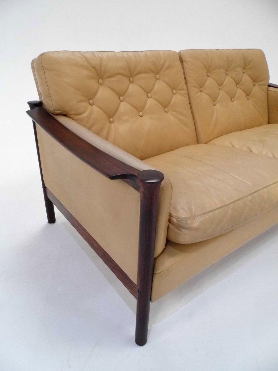 cremefarbenes mid century 2 sitzer sofa aus leder palisander von torbjorn afdal bei pamono kaufen. Black Bedroom Furniture Sets. Home Design Ideas
