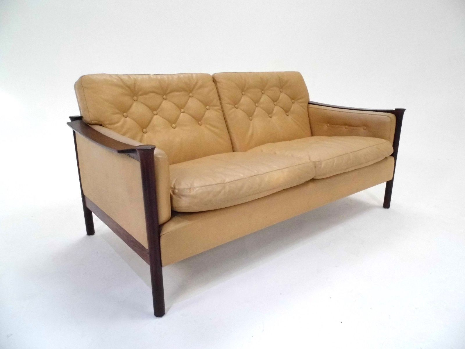 Mid Century Cream Leather & Rosewood 2 Seater Sofa by Torbjorn