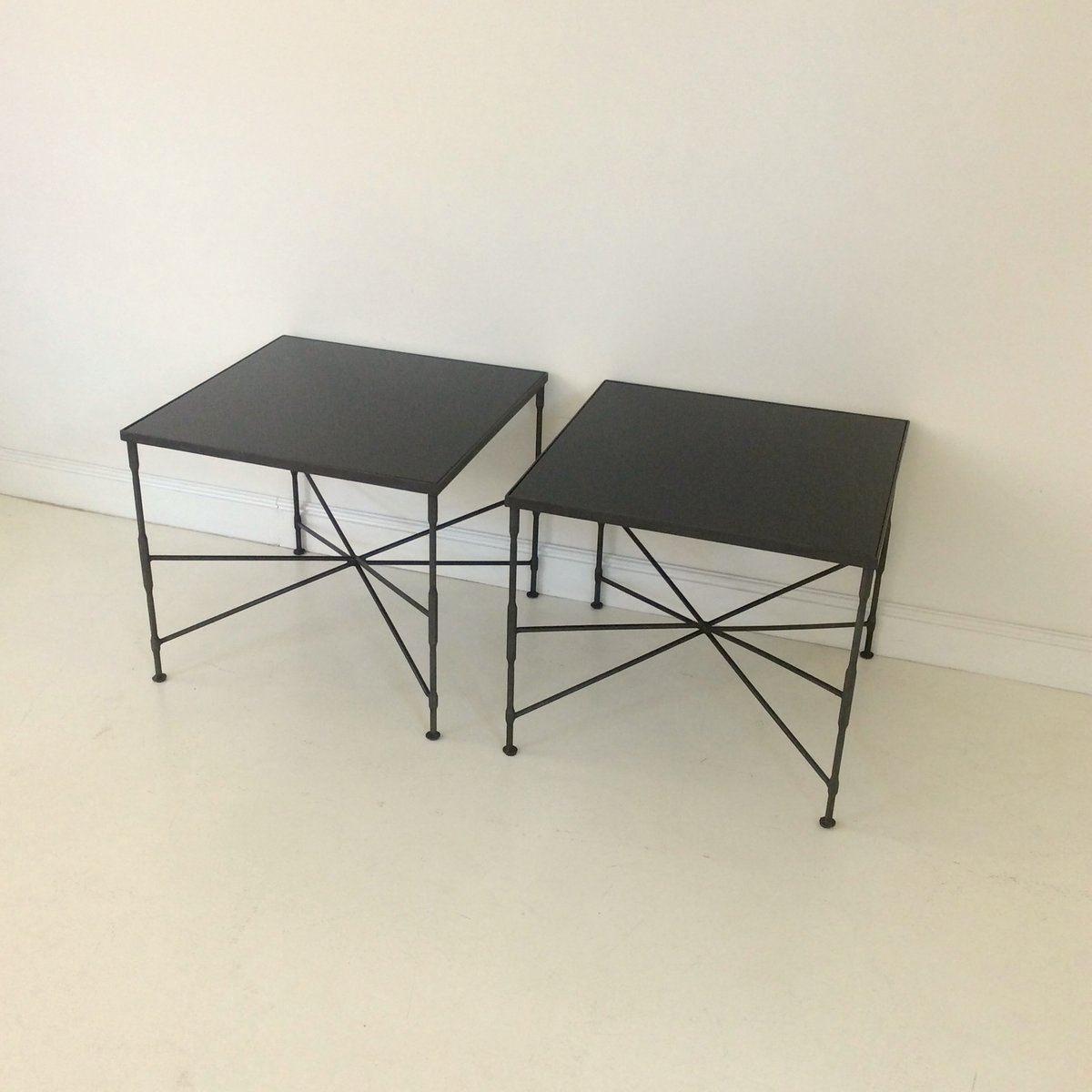 black metal coffee tables 1970s set of 2 for sale at pamono. Black Bedroom Furniture Sets. Home Design Ideas