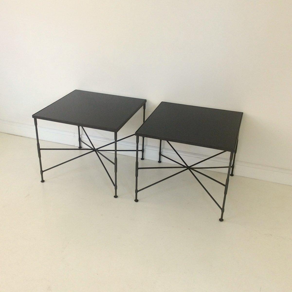 couchtische aus schwarzem metall 1970er 2er set bei. Black Bedroom Furniture Sets. Home Design Ideas