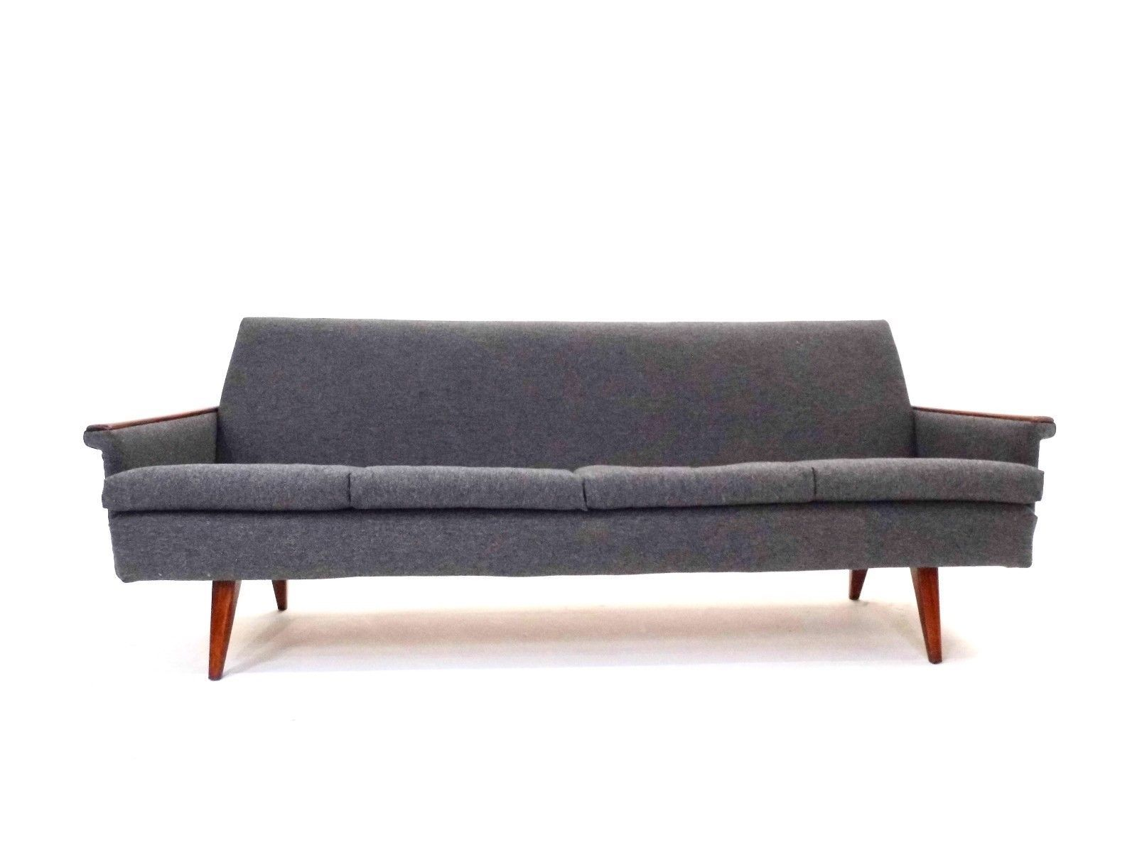 norwegisches 3 sitzer sofa aus dunkelgrauer wolle teak 1960er bei pamono kaufen. Black Bedroom Furniture Sets. Home Design Ideas
