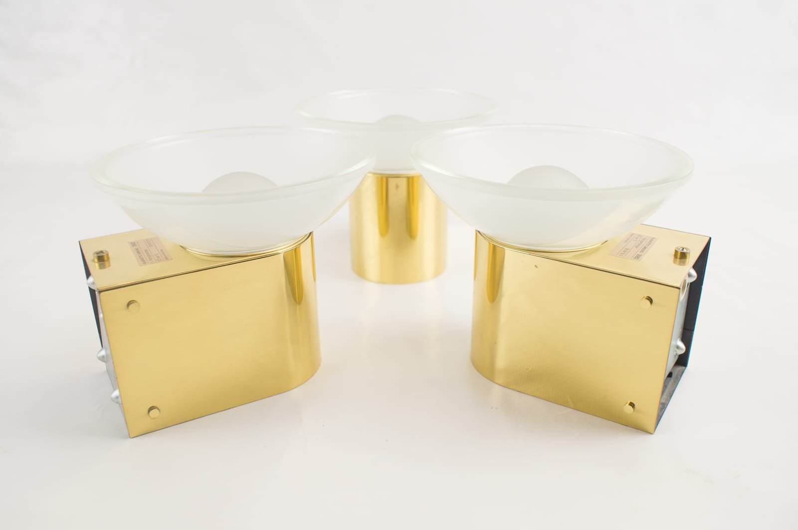 Golden Wall Lamps : Golden Wall Lamps from Limburg, 1970s, Set of 3 for sale at Pamono