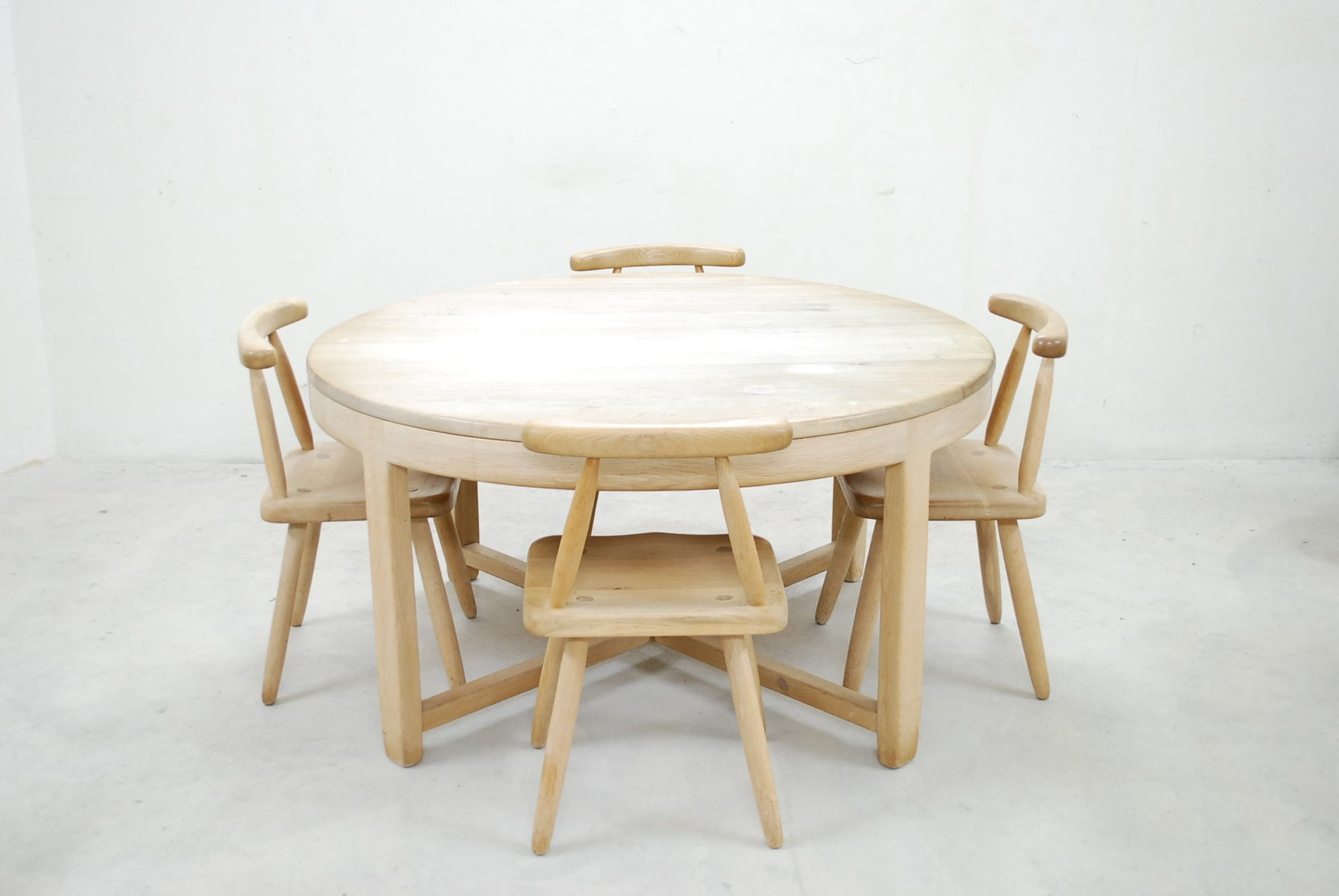 mid century oak dining table and 4 chairs for sale at pamono. Black Bedroom Furniture Sets. Home Design Ideas