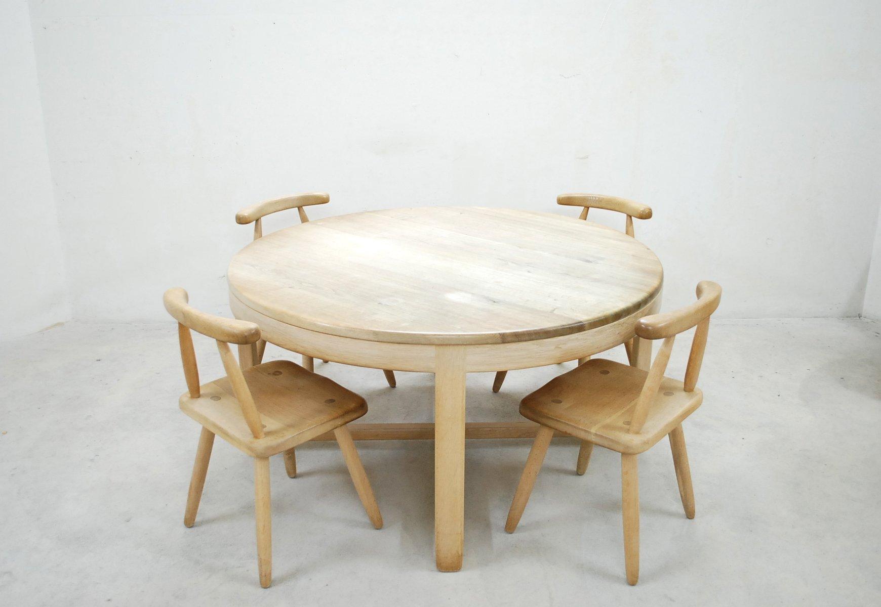 mid century arts crafts eiche esstisch und 4 st hle bei pamono kaufen. Black Bedroom Furniture Sets. Home Design Ideas