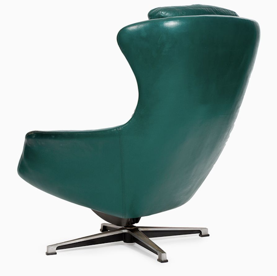 Green Leather Armchair From Peem 1970s For Sale At Pamono