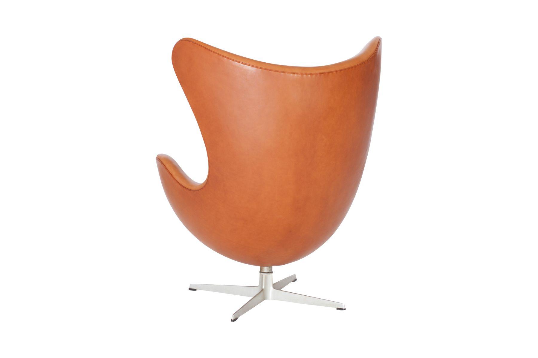 egg chair in cognac leather by arne jacobsen for fritz. Black Bedroom Furniture Sets. Home Design Ideas