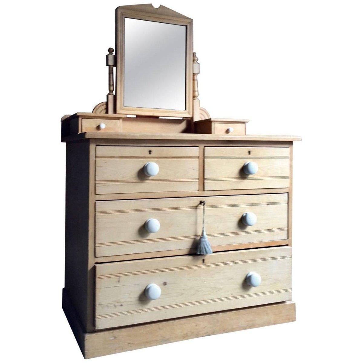 Antique Pine Dresser With Mirror