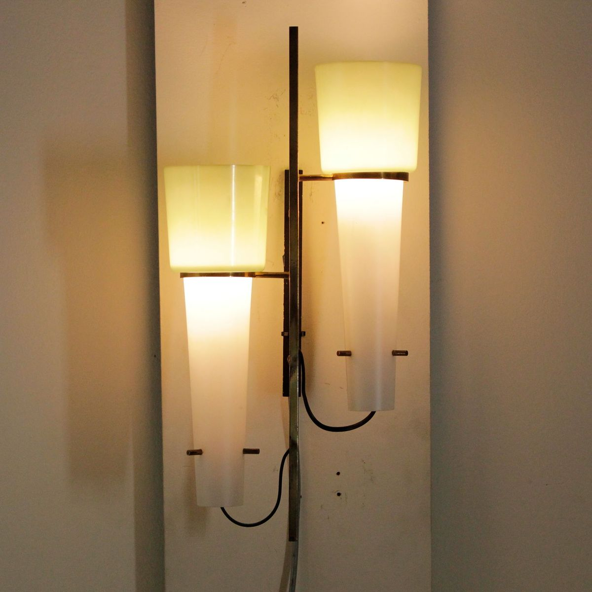 Vintage Glass Wall Lamps : Vintage Metal and Glass Wall Lamp for sale at Pamono