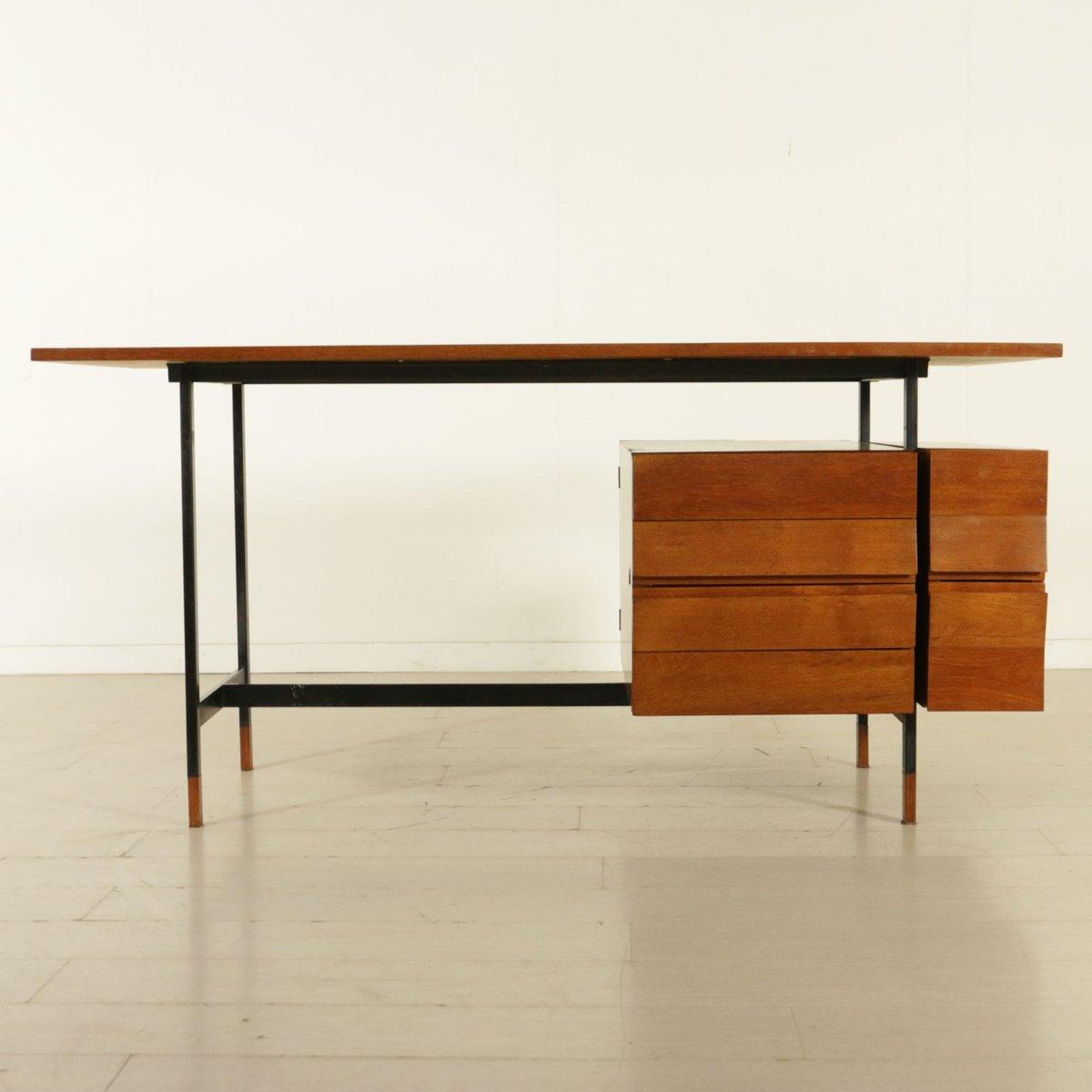 teak furnier schreibtisch mit schubladen 1960er bei pamono kaufen. Black Bedroom Furniture Sets. Home Design Ideas