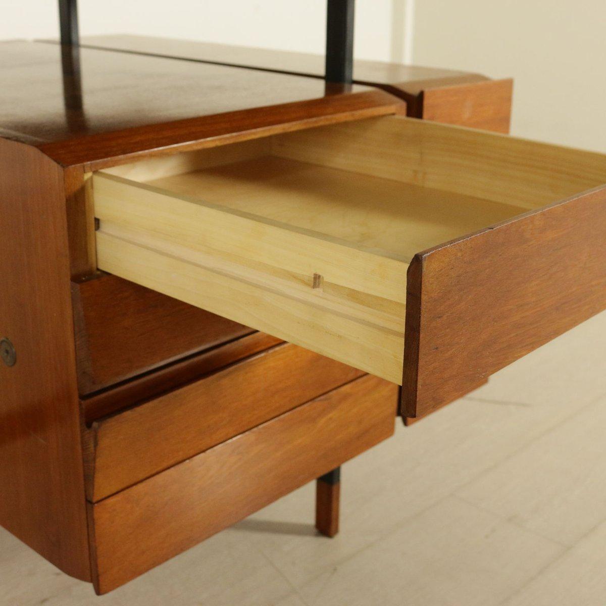 teak furnier schreibtisch mit schubladen 1960er bei. Black Bedroom Furniture Sets. Home Design Ideas