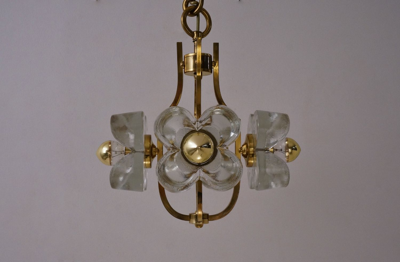 Flower Chandelier in Glass Brass from Kalmar 1965 for sale at