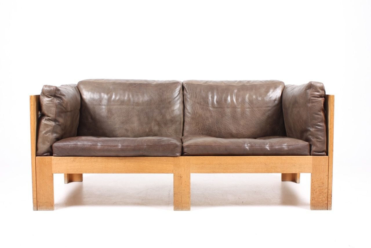Oak Sofa In Leather By Tage Poulsen 1970s For Sale At Pamono
