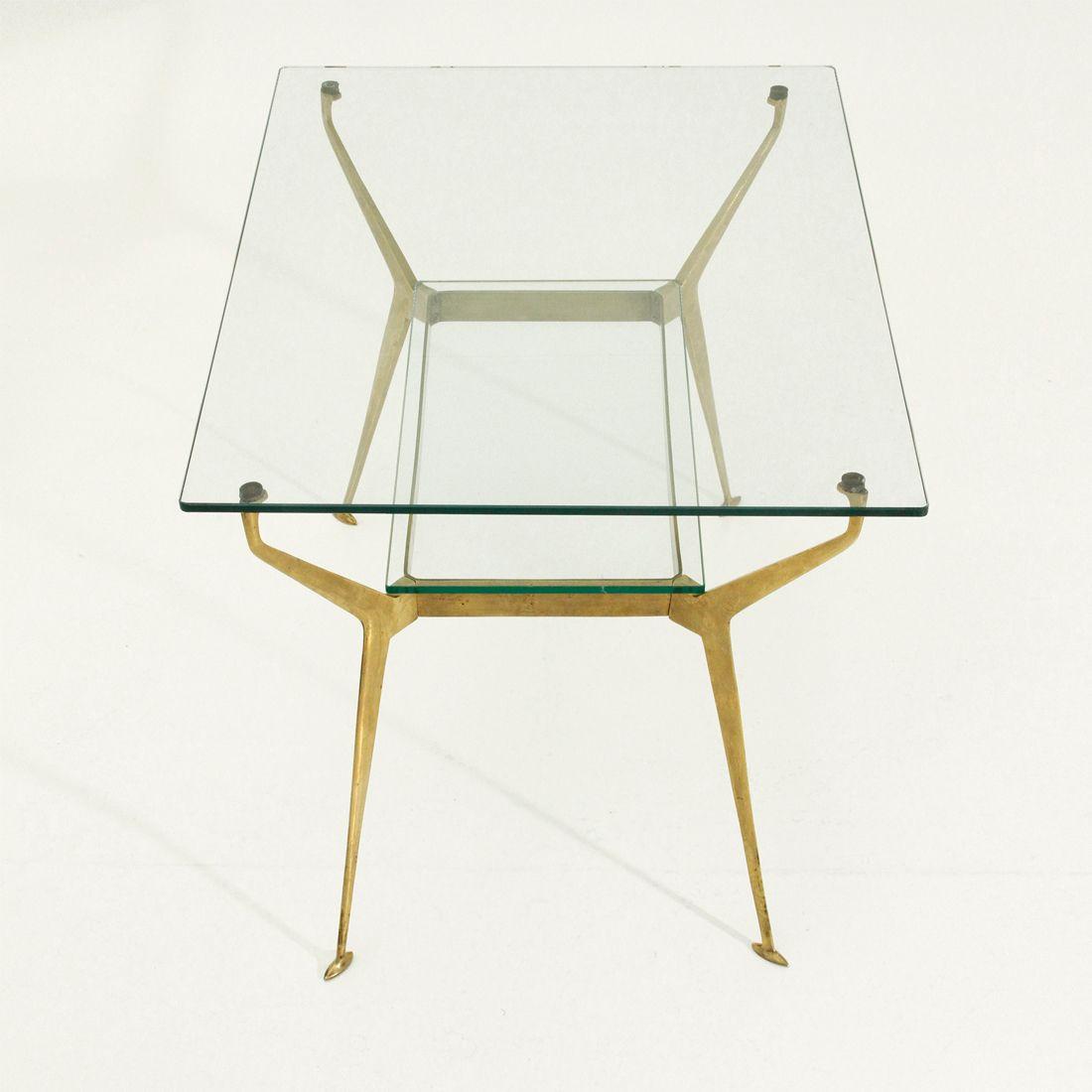 couchtisch aus messing glas 1950er bei pamono kaufen. Black Bedroom Furniture Sets. Home Design Ideas