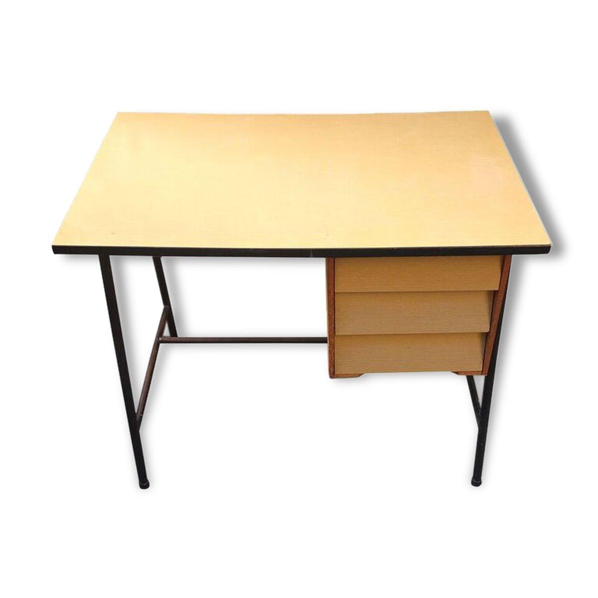 Vintage metall birkenholz schreibtisch bei pamono kaufen for Schreibtisch metall
