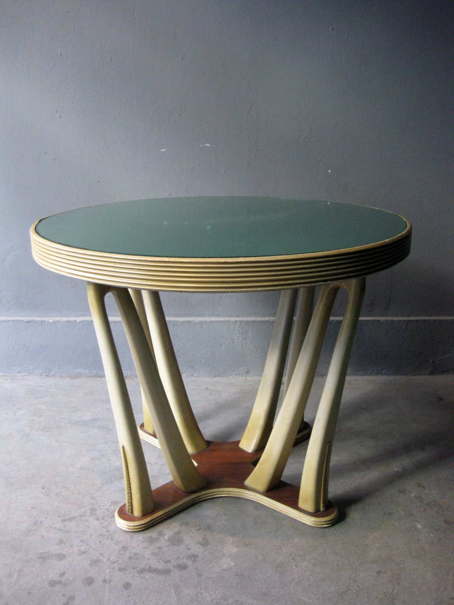 Vintage art deco tisch aus holz glas bei pamono kaufen for Tisch retro