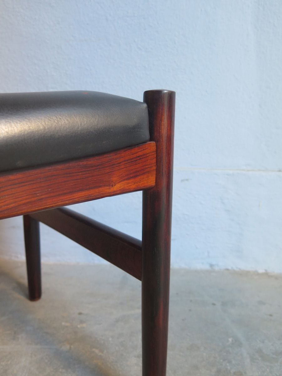 Vintage palisander and black faux leather footstool for for Black leather footstool