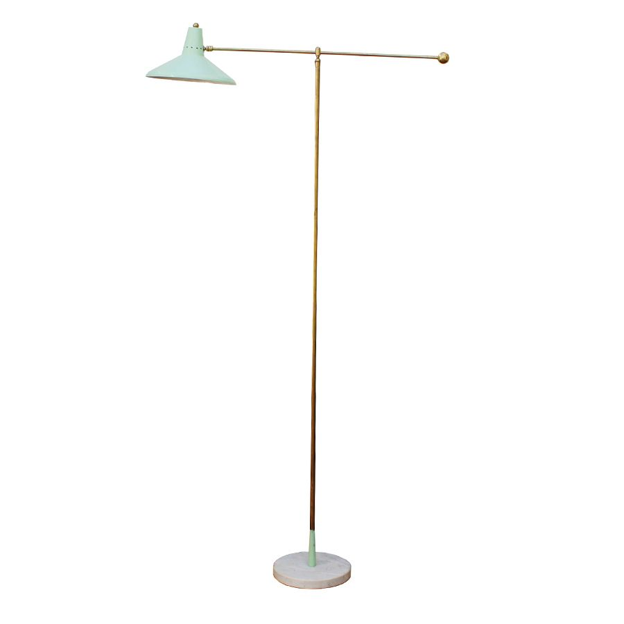 Brass and marble floor lamp from arredoluce 1950s for for 1950 floor lamp