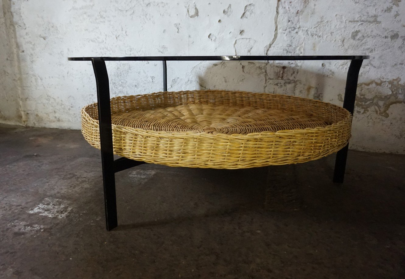 Smoked glass coffee table with wicker magazine basket 1960s for smoked glass coffee table with wicker magazine basket 1960s for sale at pamono geotapseo Gallery