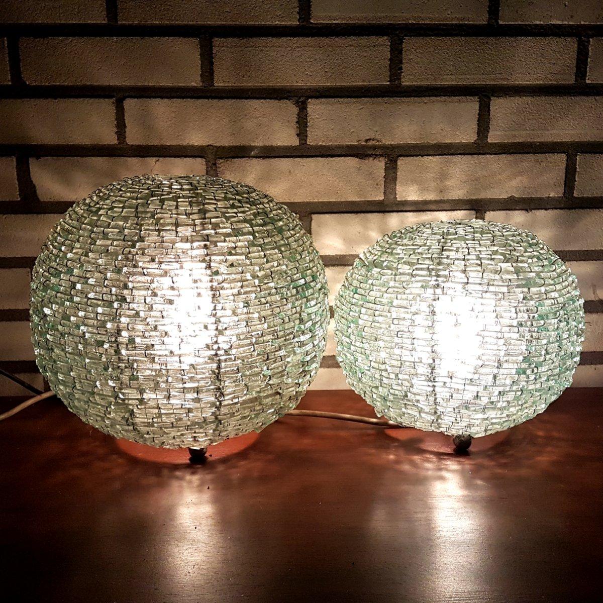 vintage kugel tischlampen aus glas 2er set bei pamono kaufen. Black Bedroom Furniture Sets. Home Design Ideas