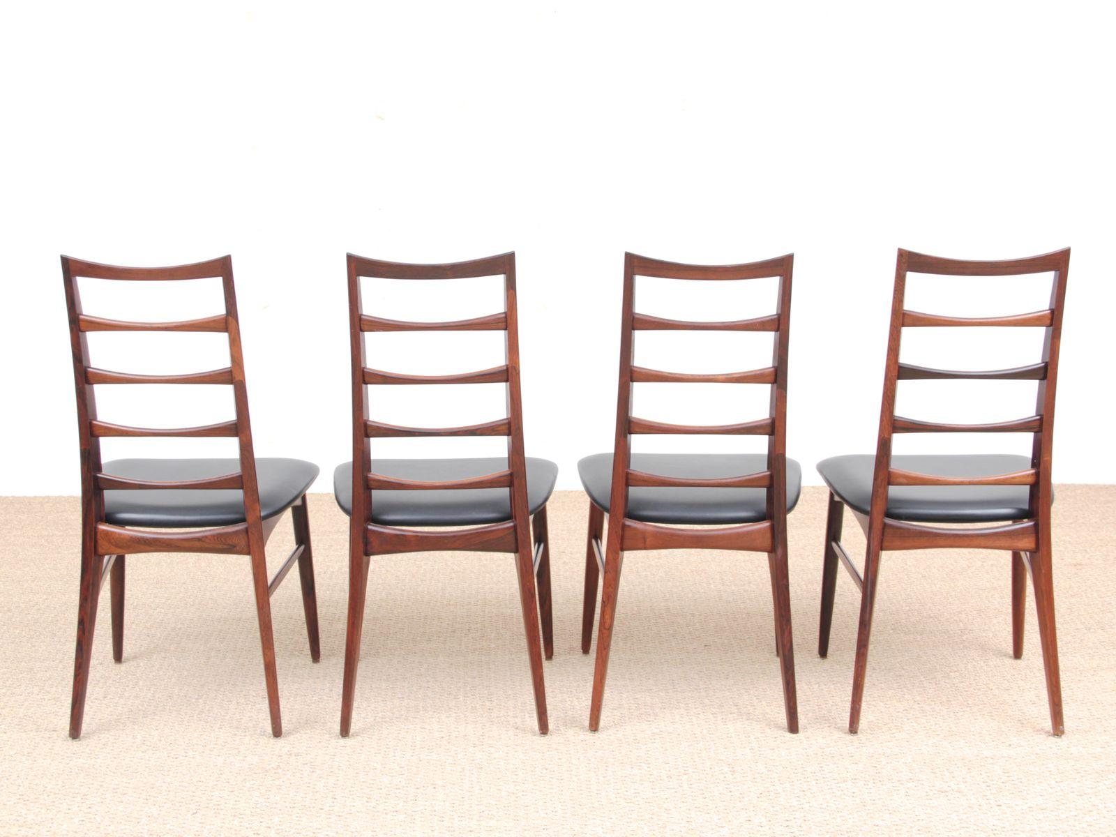skandinavische palisander lis st hle von niels koefoed 1960er 4er set bei pamono kaufen. Black Bedroom Furniture Sets. Home Design Ideas