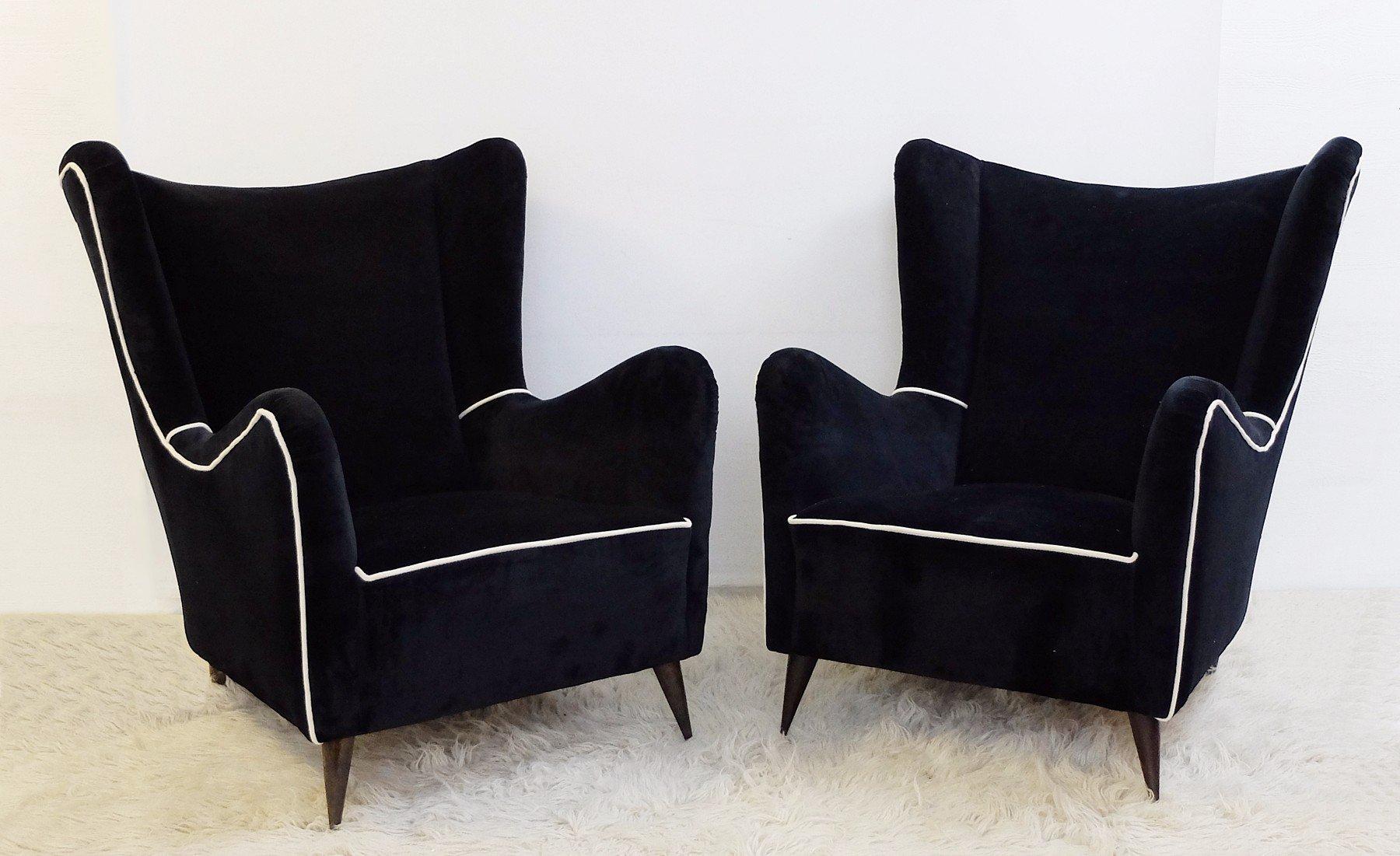 italienische vintage sessel in schwarz wei 2er set bei. Black Bedroom Furniture Sets. Home Design Ideas