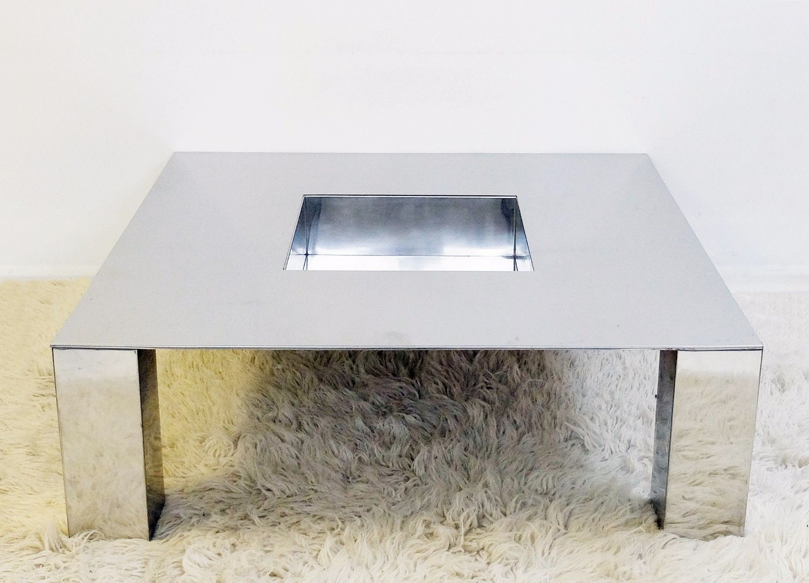 Vintage Tebe Chrome Coffee Table By Giovanni Offredi S For Sale - Concrete and chrome coffee table
