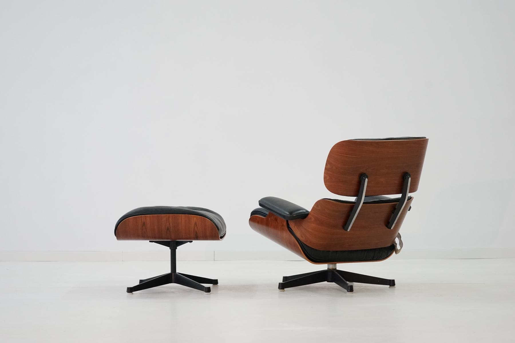 vintage rosewood lounge chair ottoman by charles ray eames for